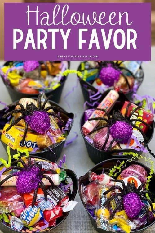 halloween party favor with spiders