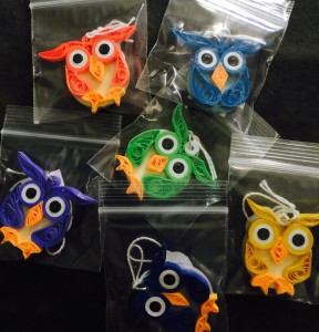 Honeys Owls. Owls made by Kristen Brunton of Get Your Roll On Quilling based on Owls created by Honey of Honeys Quilling