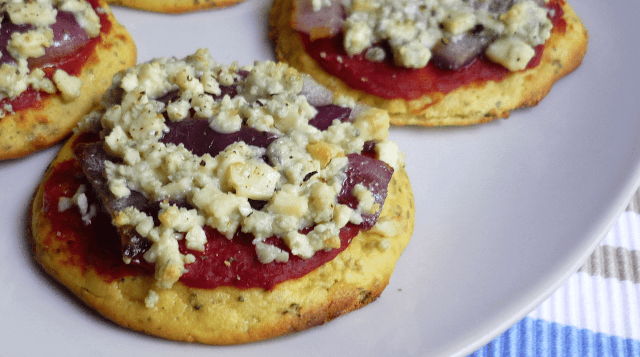 Blauwe kaas mini pizza paleo recept