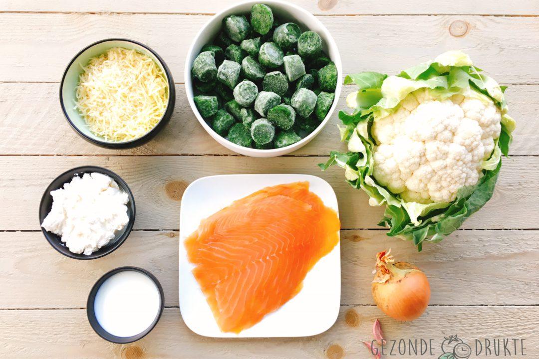 Zalmschotel met spinazie en bloemkool gezonde drukte gezond groenten zalm
