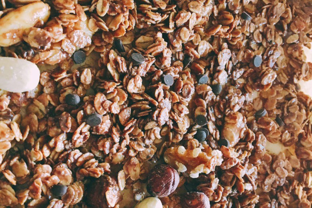 Granola pinda ontbijt gezonde drukte