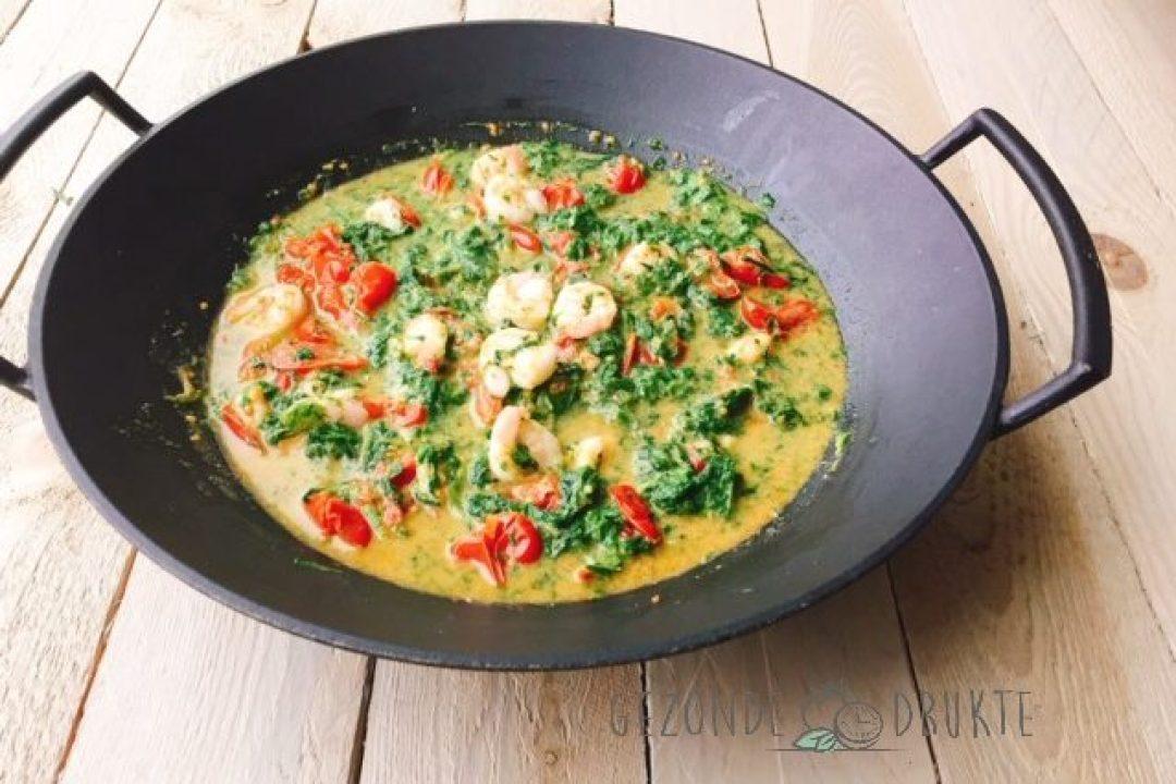 scampi met spinazie in de wok gezonde drukte
