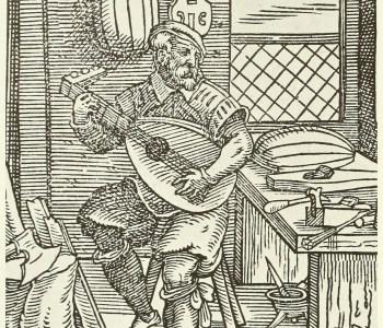 Jost Aman: An instrument maker's workshop. Wood engraving. Circa 1570.