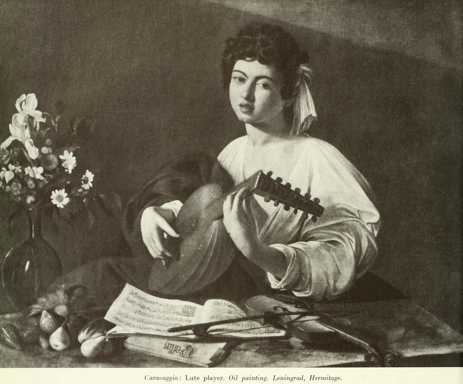 Caravaggio : Lute player. Oil painting. Leningrad, Hermitage.