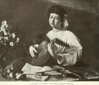 Caravaggio : Lute player. Oil painting. Leningrad, Hermitage.