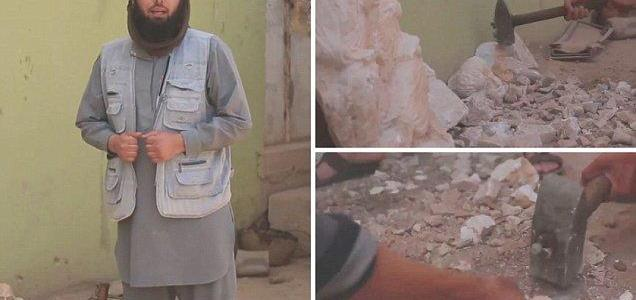ISIS fanatic uses a hammer to destroy ancient treasures in latest attempt to wipe out Syria's history
