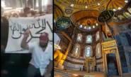 Jihadist terrorist flag displayed inside Hagia Sophia