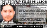 US authorities announced five million dollars reward for Pakistani terrorist Sajid Mir
