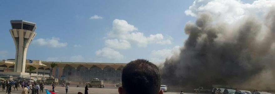 At least 26 people killed and more than 50 wounded in an attack on Yemen's Aden airport