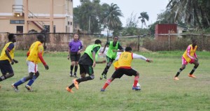 Action in the clash between South Ruimveldt and North Ruimveldt which the latter won on penalty kicks.
