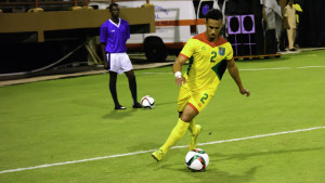 Defender Samuel Cox in action for Guyana against St Vincent and the Grenadines