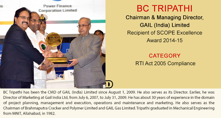 BC TRIPATHI Chairman & Managing Director, GAIL (India) Limited