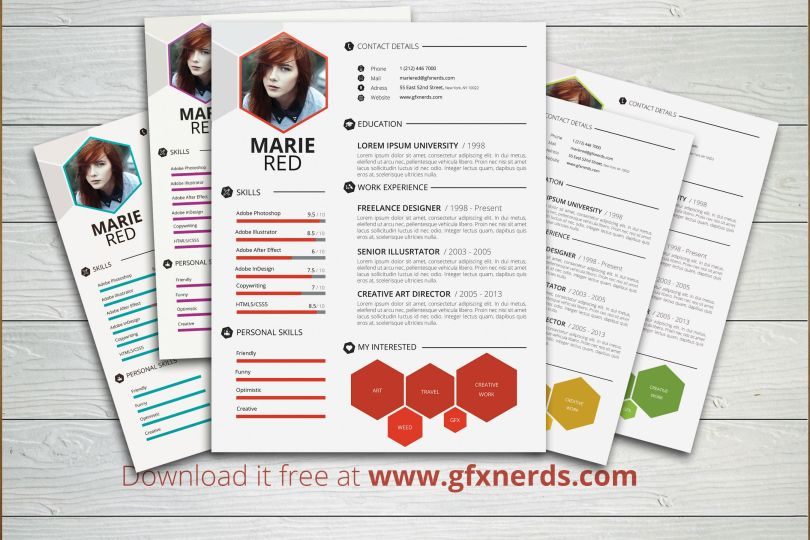 Clean professional resume template psd - Free Graphics