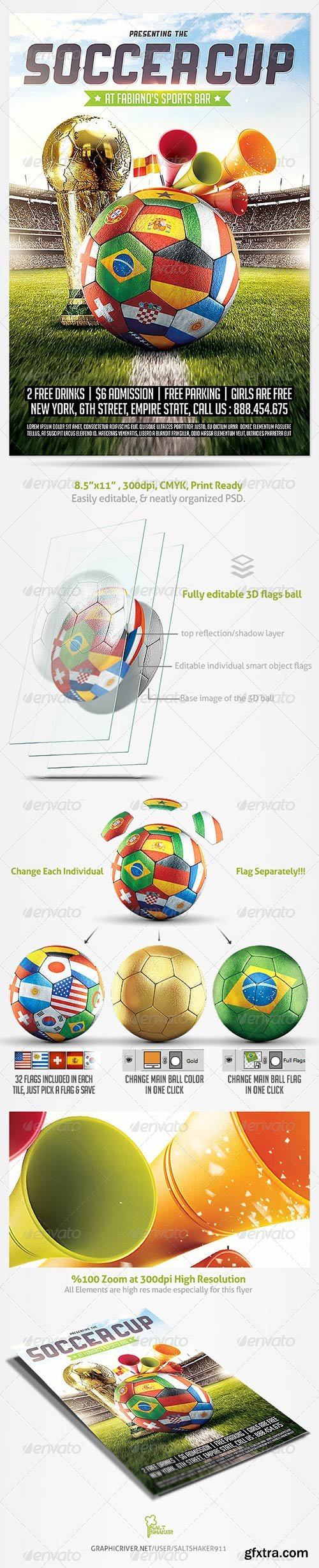 Graphicriver - Brazil Soccer Cup 2014 Football Flyer