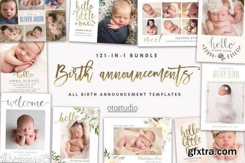 CreativeMarket BUNDLE 121-in-1 Birth Announcements 2885171 » Vector ...
