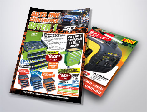 SP Tools flyers designed by GGA Graphics