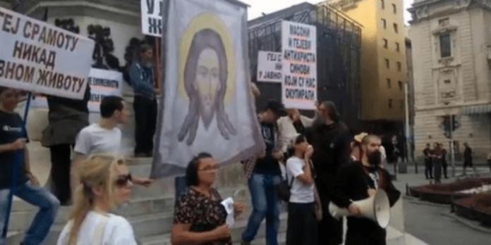 Demonstration durch Belgrad