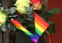 Rosen und Regenbogenfähnchen