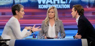 Ulrike Lunacek und Sebastian Kurz im TV-Duell