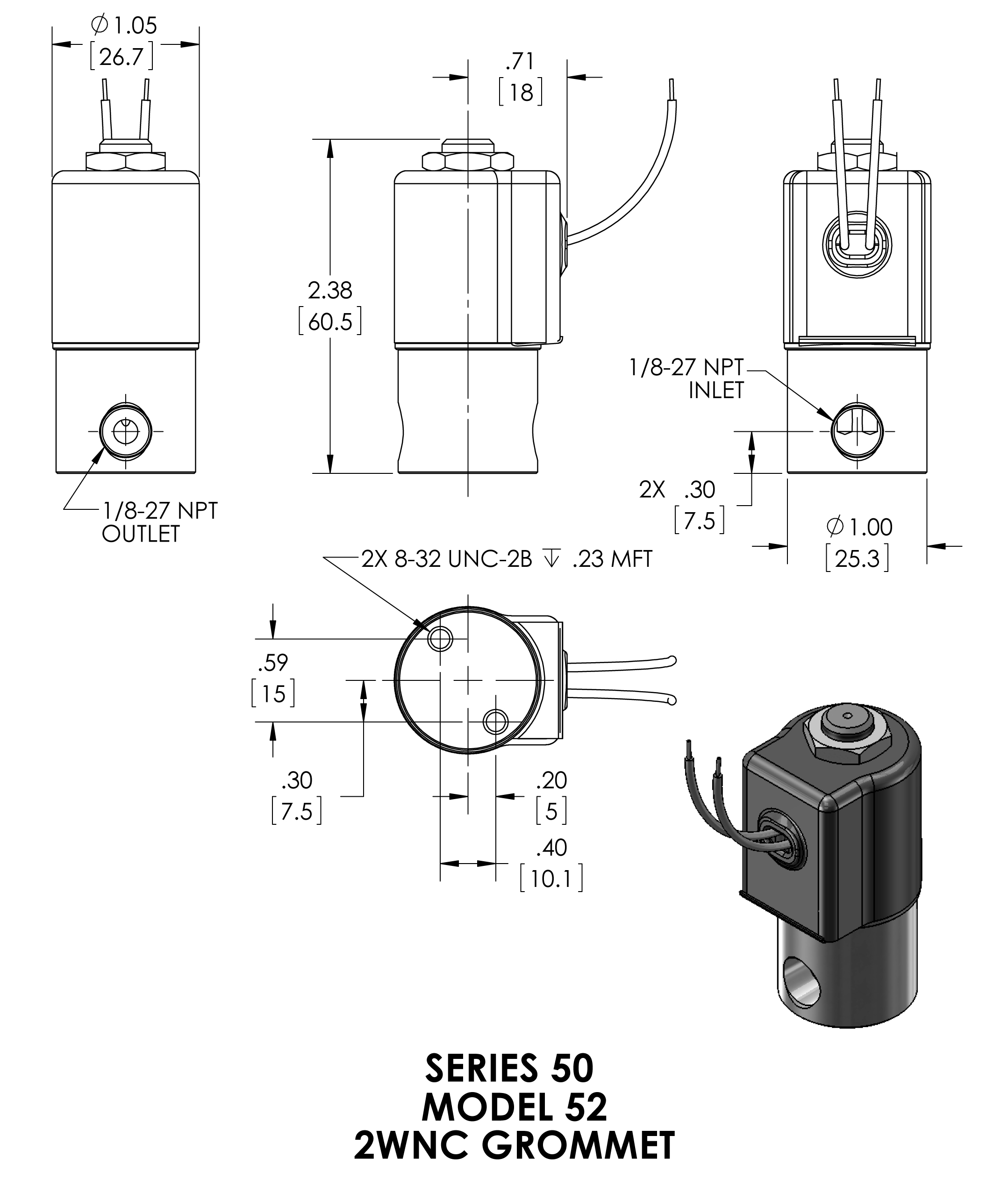 52G8DGB Peter Paul 2-Way Normally Closed Solenoid Valve 1