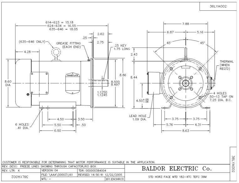 CEM3616T Baldor Three Phase, Totally Enclosed, C-Face