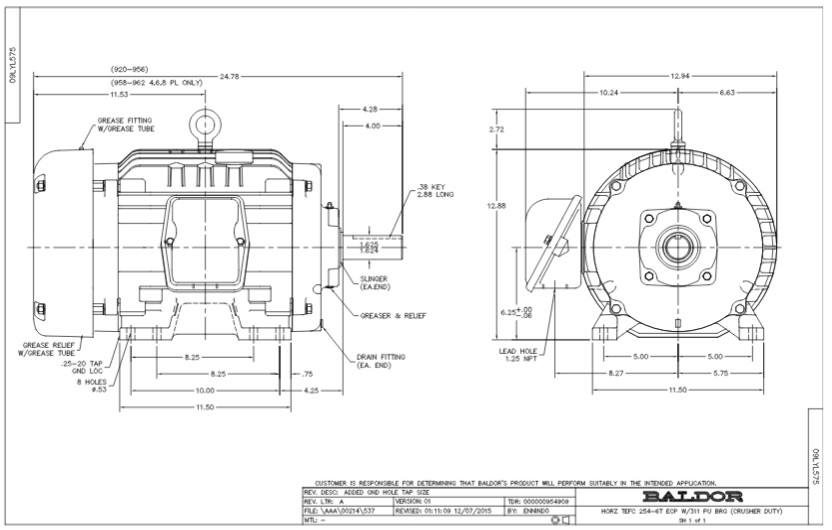 baldor three phase motor wiring diagram 99 jeep cherokee ecr9154t phase, totally enclosed, crusher motors, 15hp, 1765rpm, 254t frame upc ...