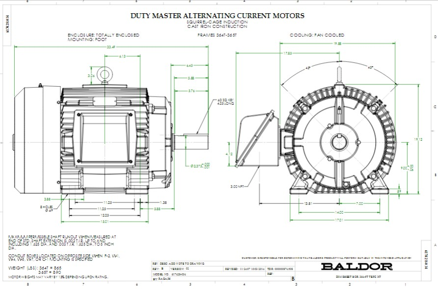 ECR9406TR Baldor Three Phase, Totally Enclosed, Crusher