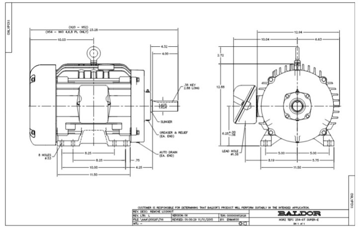 baldor motor frame specs