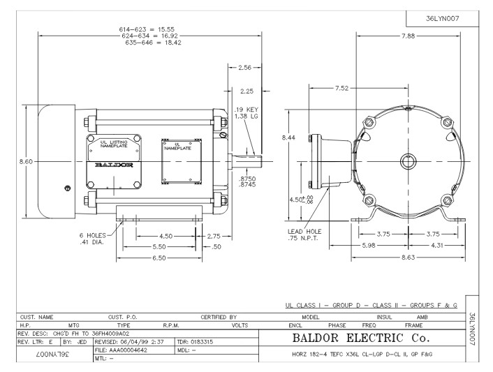 L5013 Baldor Single Phase, Foot Mounted, Explosion Proof