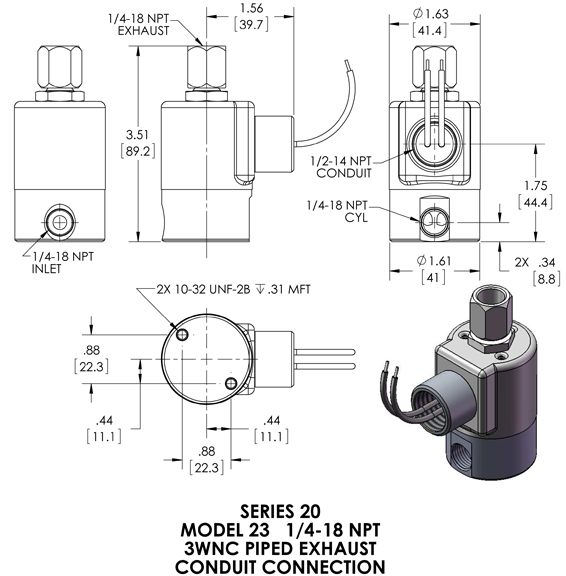 23GG9ZCV Peter Paul 3-Way Normally Closed Valve (piped