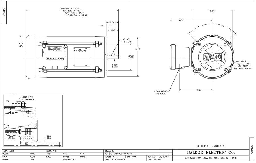 Nema 56c Frame Motor Dimensions