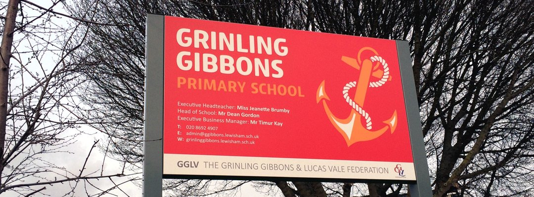 Signage at Grinling Gibbons Primary School