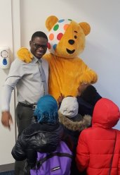 Pudsey meeting children and Mr Gordon!