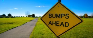 Bumps Ahead Sign Near Paved Path