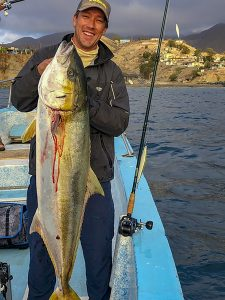 "Jeff Mariani shared a photo of this lunker-sized yellowtail caught just before ""Rosa"" dumped buckets of rain on Cedros Island."
