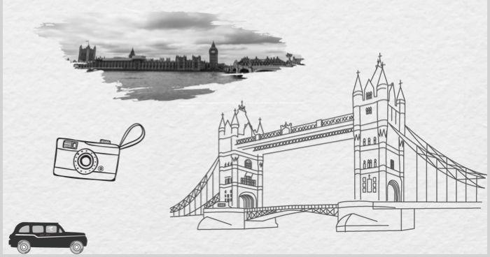 Vintage London style album PPT template material
