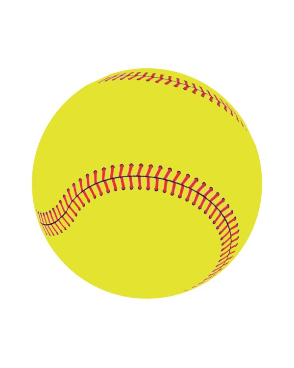 """Yellow Softball Magnet or Sticker for Indoor or Outdoor Use 5"""" x 5"""""""