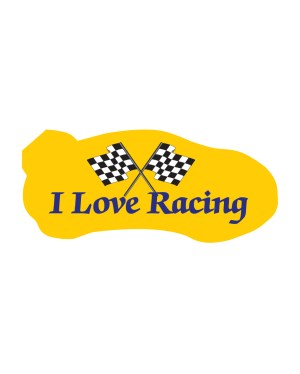"I Love Racing Magnet or Sticker for Indoor or Outdoor Use 7"" x 3"""