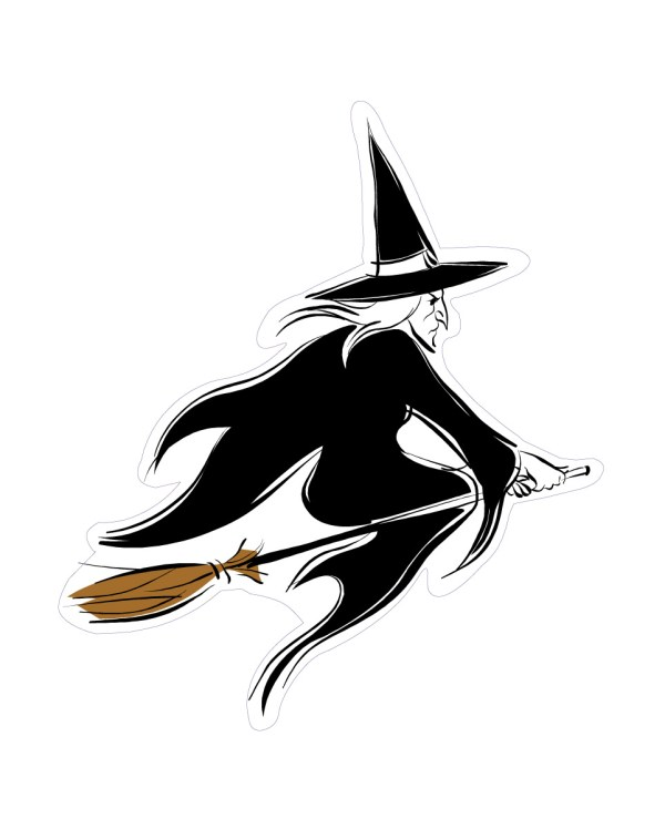 """Witch Magnet or Sticker for Indoor or Outdoor Use 5.5"""" x 6.5"""""""
