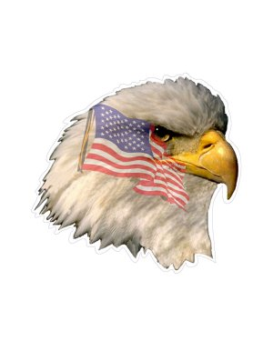 """Eagle Head with Flag Magnet or Sticker for Indoor or Outdoor Use 5"""" x 5"""""""