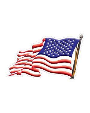 "USA American Flag Left Direction Magnet or Sticker for Indoor or Outdoor Use 7"" x 4"""