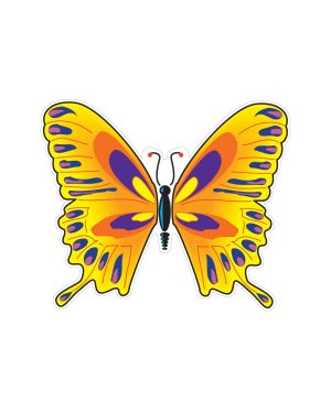 "Yellow Butterfly Magnet or Sticker for Indoor or Outdoor Use 5"" x 6"""