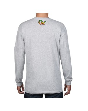 Good Vibes 3 Lions Rastafarian Gray Long Sleeve T-shirt