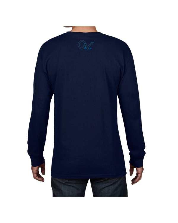Good Vibes Blue Black Checker Navy Long Sleeve T-shirt