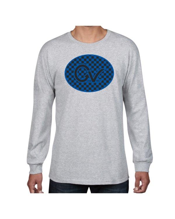 Good Vibes Blue Black Checker Gray Long Sleeve T-shirt