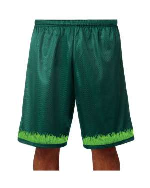 "Good Vibes™ Men's Hunter Green Basketball Shorts with Grass Logo. Style A4 11"" Adult Utility Mesh  with 2 Ply Mesh Body"