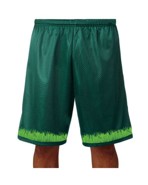 """Good Vibes™ Men's Hunter Green Basketball Shorts with Grass Logo. Style A4 11"""" Adult Utility Mesh with 2 Ply Mesh Body"""
