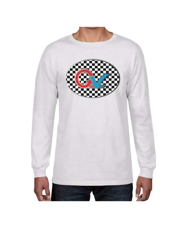 Good Vibes Multi Color Checker GV Logo White Long Sleeve T-shirt