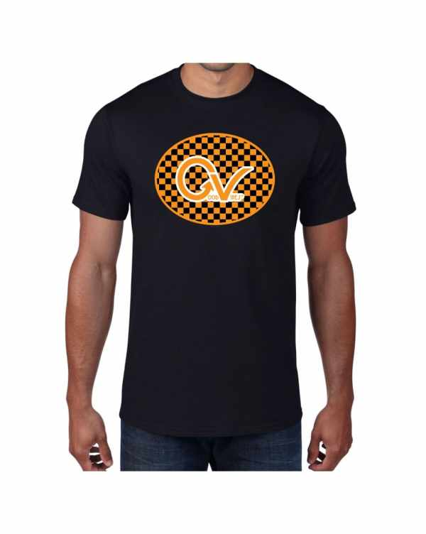 Good Vibes Orange Checker Logo Black T-shirt