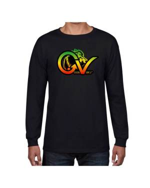Good Vibes Rastafarian Lion GV Black Long Sleeve T-shirt